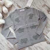 Нежнейший кардиган кофточка пуловер с сердечками.разм 3/4года❤ Очень красивая. серый жемчуг