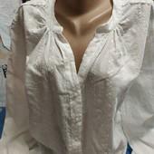 Нарядная блузка из батиста белого цвета на XL
