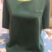 Блузка из плотного шёлка тёмнозелёного цвета на XXL