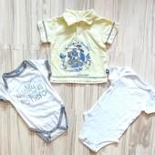 Шикарный комплект. Фирменные футболка и два боди мальчику 2-6 месяцев. Идеал, без запаха.