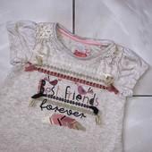 Стоп ,интересная❤ Фирменная стильная футболочка для девочки,1-2 года❤ Много лотов!