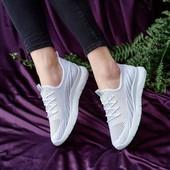 Текстильные белые кроссовочки!Самая удобная обувь!