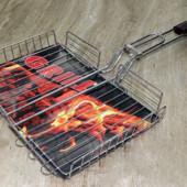 Решетка для гриля и барбекю , сетка для гриля на мангал с ручкой, объемная Grill 28х20х4см