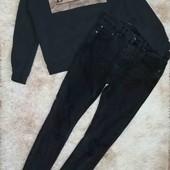 Стильный комплект Костюм Джинсы штаны брюки с высокой посадкой Свитшот реглан кофта худи