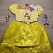 Очень красивое нарядное платье для девочки, пышное платье! 116 рост! Цвет жёлтый!