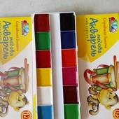Акварель Гамма 12 цветов картонная упаковка 3 штуки