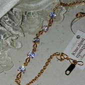 новинка! шикарный браслет с белым алпанитом,р. 17-20 см, позолота 585 пробы