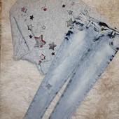 Стильный комплект Костюм Джинсы штаны брюки Свитшот реглан кофта Оверсайз