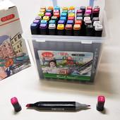 Скетч маркеры, фломастеры touch cool двусторонние для бумаги в пластиковом контейнере набор 48 шт