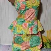 Вау! Обалденное платьице с баской размер 48
