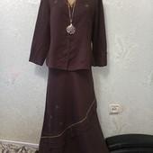 Качество! Шикарный яркий льняной комплект юбка + рубашка-жакет, шоколад Новый Акция читайте