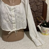 Распродажа❤️Индия❤️батистовая блузочка топ с кружевом и с длинным рукавом М