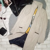 Элегантное нюдовое миди пальто
