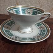 Оригінальна порцелянова чайна пара з позолотою