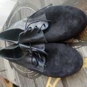 Туфлі із нат. замші зовні і нат.шкіри всередині 39 ри.