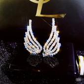 """Роскошные элегантные серебряные серьги-гвоздики """"крылья ангела"""""""