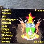 №4 монета Зимбабве 50 центов, 2014