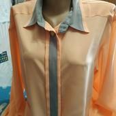 Блузка персикового цвета на женщину XXL,см.замеры