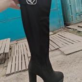 Очень классные осенние сапожки ботфорты на каблуке