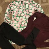 Одяг для дому: тепла махрова туніка-плаття, кофта та лосіни розмір С