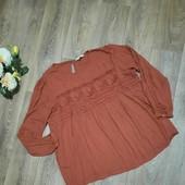 Красивая терракотовая блуза на осень, р. 54-56. Состояние отличное.
