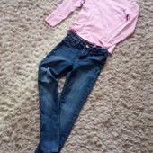 Фірмові джинси та котоновий гольфік для дівчинки 10 років