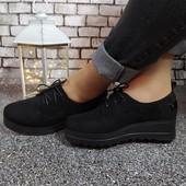 Туфли чёрные на небольшой удобной танкетке