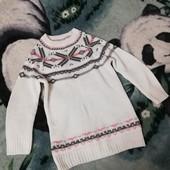 Шикарный тёплый светер для девочки 6-8лет, удлинённый