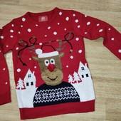 Primark 10-11л прикольный свитер с оленем