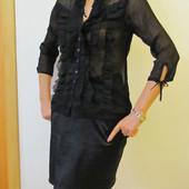 Блуза черная,летняя,шифон,блузка, размер 44, 38-40, 8-10