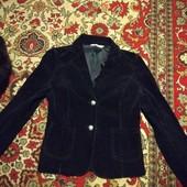 Черный пиджак классика мелкий рубчик