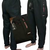 "Хит.новинка зима2021!Мужские стильн.штаны-джоггеры на флисе,бренд""Godsend""❤,карманы на молнии,манжет"