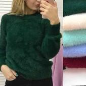 Мягусенький очень теплый свитер бирюза 44-46-48р.