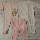 Набор на девочку 6-9 месяцев, человечки и штаны
