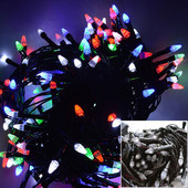 Гирлянда 100 Led (100 лампочек) 8 метров черный провод мультицвет