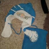 Шапка+шарф,на овчині,сезон зима,гарний стан,вік дитини 3-6 років