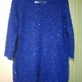 Королевско-синий свитерок с паетками 48-50р.