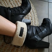 Сапоги ботинки с набивным мехом,экокожа. 39р на неширокую ногу