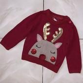 Стоп , яркий/ теплый/ красивый❤ Фирменный мягкий коттоновый свитер для малышки,1 год❤ Много лотов!