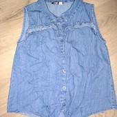 Рубашка легкая джинсовая на девочку 9лет замеры на фото