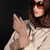 Женские красивые рукавицы с начесом. Размер 6,5 (хс- с). Количество ограничено.
