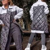 Стёганое комбинированное пальто, размер 48-50