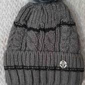 Тёплые, вязаные шапки для мальчиков 7-9 лет. Цена супер!